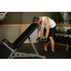 Bent Over Dumbbell Rear Delt Raise With Head On Bench